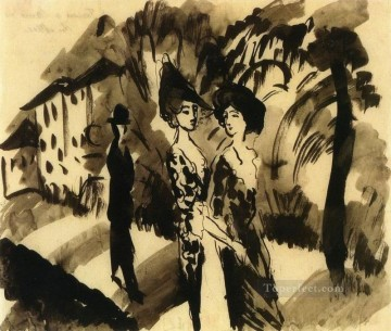 Two Women and an Manonan Avenue August Macke Oil Paintings