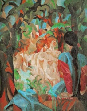 Bathing Girls with Town in the Background Badende Madchenm it St adtim August Macke Oil Paintings