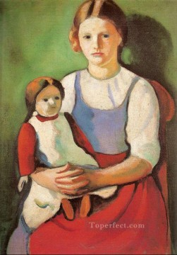 Blond Girl with Doll Blondes Madchenm it Puppe August Macke Oil Paintings