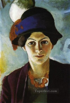 Artists Oil Painting - Portrait of the Artists wife Elisabeth with a Hat Fraudes Kunstlersmi August Macke