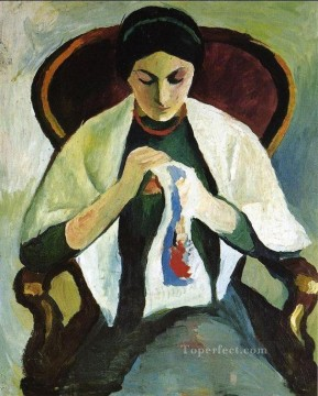 Artists Oil Painting - Woman Embroidering in an Armchair Portrait of the Artists Wife August Macke