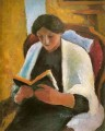 Woman Reading in Red Armchair Lesende Frauimroten Sessel August Macke