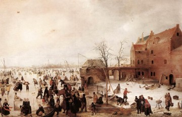 Hendrick Avercamp Painting - A Scene On The Ice Near A Town 1615 winter landscape Hendrick Avercamp