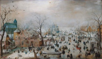 Hendrick Avercamp Painting - A Scene On The Ice Near A Town winter landscape Hendrick Avercamp