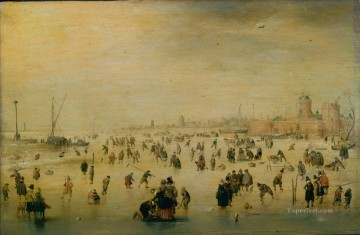 Hendrick Avercamp Painting - Skaters winter landscape Hendrick Avercamp