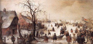 Hendrick Avercamp Painting - Winter Scene On A Canal Hendrick Avercamp