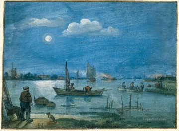 Hendrick Avercamp Painting - Fishermen By Moonlight winter landscape Hendrick Avercamp
