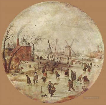 Hendrick Avercamp Painting - Winter Landscape With Skaters Hendrick Avercamp
