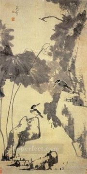 china - lotus and birds old China ink