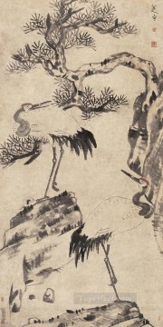 china - pine and cranes old China ink