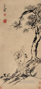 china - pine and deer old China ink