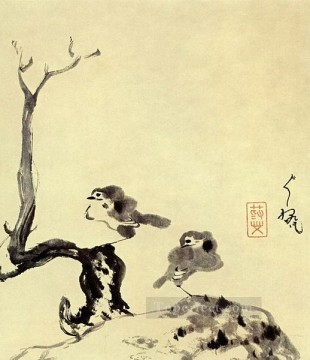 two Art - two birds 1705 old China ink