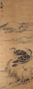 two Art - two wild geese old China ink