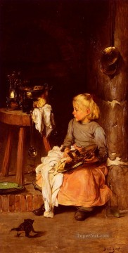 La Petite Fille Au Chaudron Joseph Claude Bail Oil Paintings