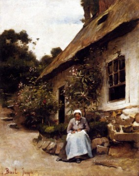 on canvas.html - Woman Sewing In Front Of Her Cottage Joseph Claude Bail