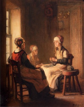 Girls Canvas - A Interior With Marken Girls Knitting Joseph Claude Bail