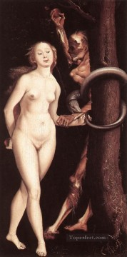 Hans Baldung Painting - Eve The Serpent And Death Renaissance nude painter Hans Baldung