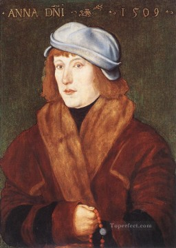 Portrait Painting - Portrait Of A Young man With A Rosary Renaissance painter Hans Baldung