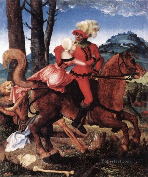 Hans Baldung Painting - The Knight The Young Girl And Death Renaissance painter Hans Baldung