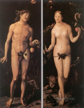 Hans Baldung Painting - Adam And Eve Renaissance nude painter Hans Baldung