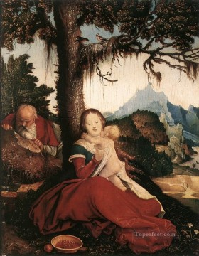 painter Oil Painting - Rest On The Flight To Egypt Renaissance painter Hans Baldung