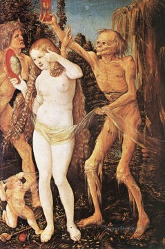 painter Art - Three Ages Of The Woman And The Death Renaissance nude painter Hans Baldung