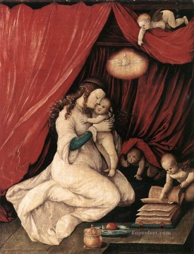 Hans Baldung Painting - Virgin And Child In A Room Renaissance painter Hans Baldung