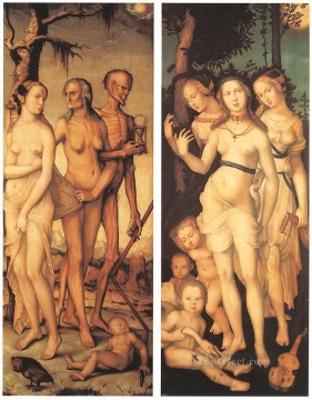 horse racing races sport Painting - Three Ages Of Man And Three Graces Renaissance nude painter Hans Baldung