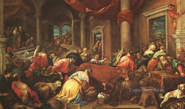 Jacopo Bassano Painting - The Purification Of The Temple Jacopo Bassano