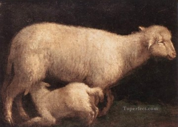 Sheep And Lamb Jacopo da Ponte Jacopo Bassano animal Oil Paintings
