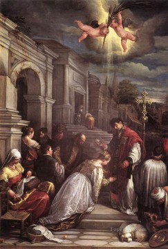 St valentine Baptizing St Lucilla Jacopo Bassano Oil Paintings