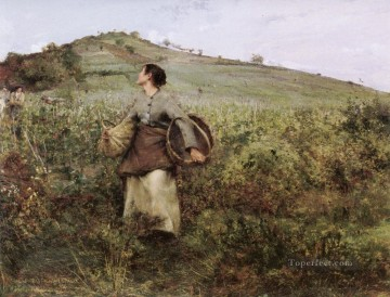 Jules Art Painting - At Harvest Time rural life Jules Bastien Lepage