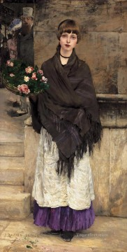 Marchande de Fleurs a Londres 1882 rural life Jules Bastien Lepage Oil Paintings