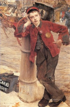 on canvas - The London Bootblack rural life Jules Bastien Lepage