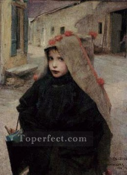 Jules Art Painting - going to school rural life Jules Bastien Lepage