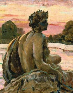 on canvas - One of the Figures at the Parterre dEau impressionist James Carroll Beckwith