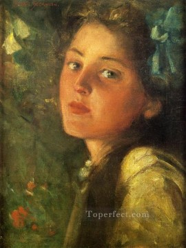 on canvas - A Wistful Look impressionist James Carroll Beckwith