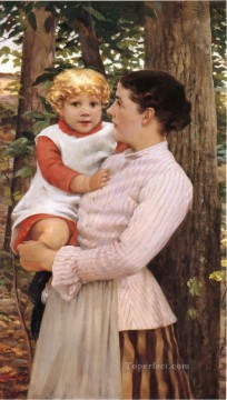 on canvas - Mother and Child impressionist James Carroll Beckwith