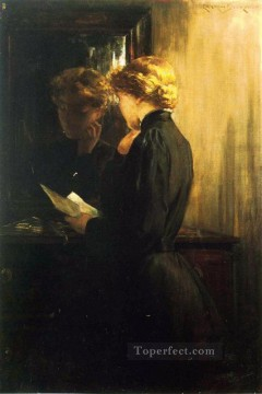 on canvas - The Letter impressionist James Carroll Beckwith