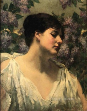 on canvas - Under the Lilacs impressionist James Carroll Beckwith