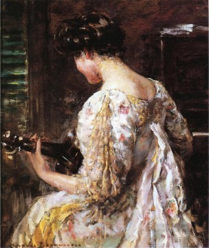 Woman Painting - Woman with Guitar impressionist James Carroll Beckwith