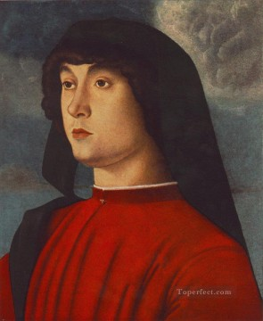 Portrait of a young man in red Renaissance Giovanni Bellini Oil Paintings