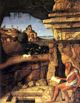 Saint Jerome reading Renaissance Giovanni Bellini Oil Paintings
