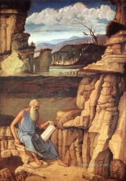 St Jerome reading Renaissance Giovanni Bellini Oil Paintings