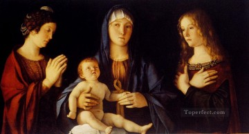 Virgin And Child Betwwn St Catherine And St Mary Renaissance Giovanni Bellini Oil Paintings