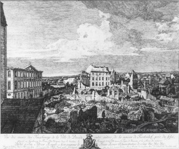 Lotto Deco Art - Dresden The Ruins Of The Pirnaische Vorstadt etching urban Bernardo Bellotto