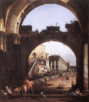 Lotto Art Painting - Capriccio Of The Capitol urban Bernardo Bellotto