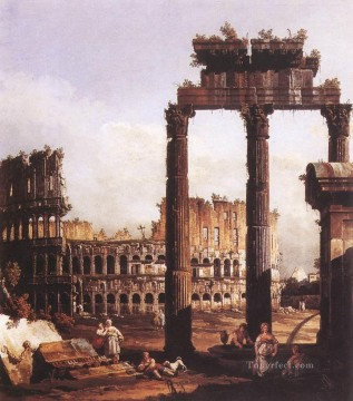 Bernardo Art Painting - Capriccio With The Colosseum urban Bernardo Bellotto