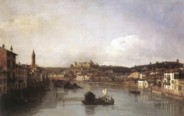 Lotto Art Painting - View Of Verona And The River Adige From The Ponte Nuovo urban Bernardo Bellotto