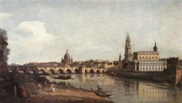 Bernardo Art Painting - View Of Dresden From The Right bank Of The Elbe With The Augustus Bridge urban Bernardo Bellotto
